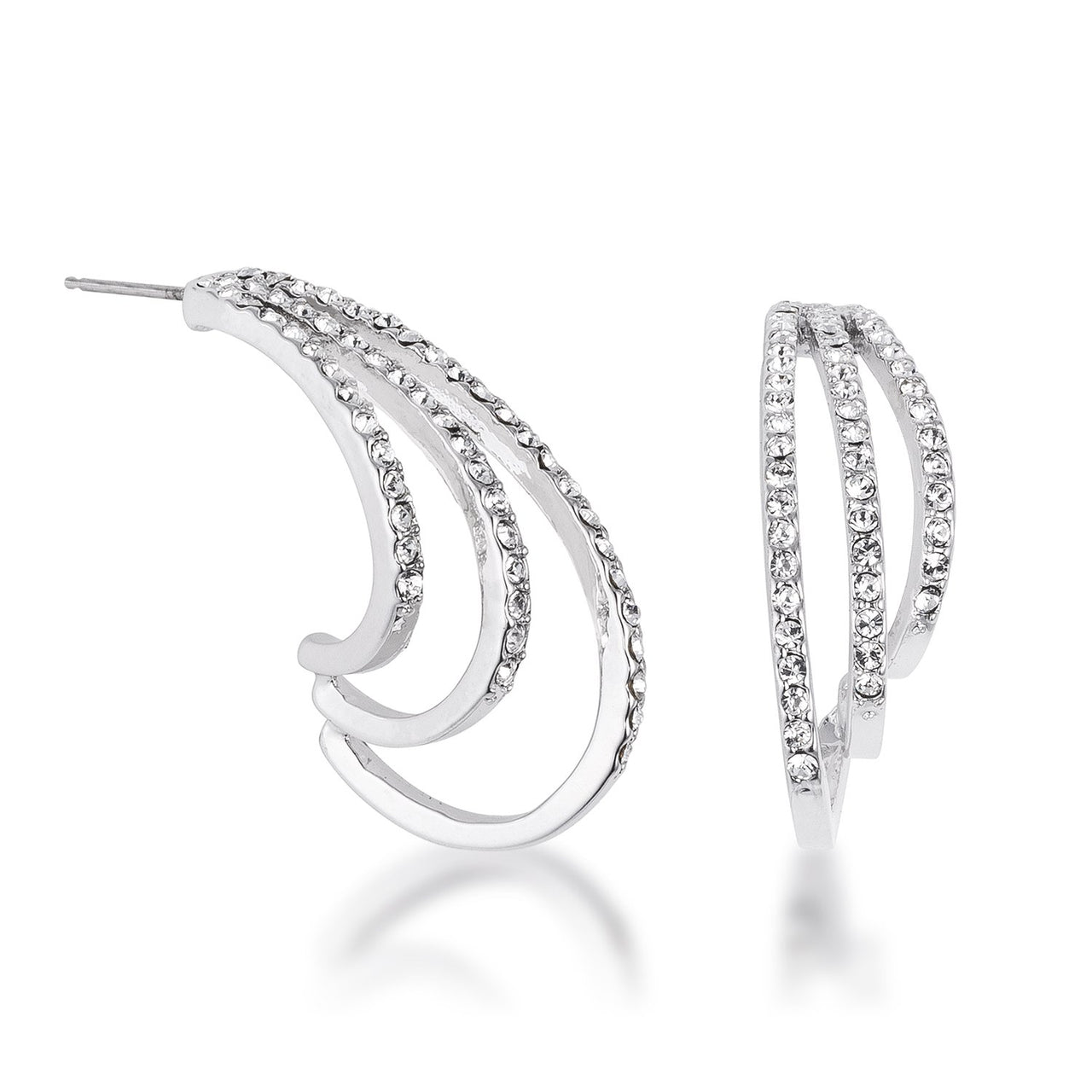 Rhodium Plated Contemporary Clear Crystal Earring