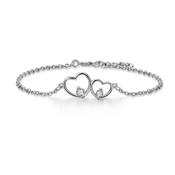 Solid 925 Sterling Silver Bracelet Double Heart Bridesmaid Wedding Gift XFB8019 - Silver Bracelets - KA Designs Online