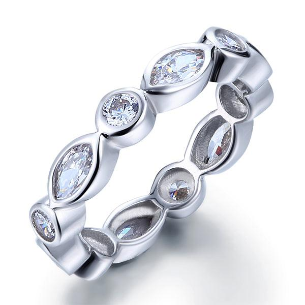 Marquise Solid 925 Sterling Silver Ring Eternity Band Wedding Jewelry XFR8140 - Silver Rings - KA Designs Online