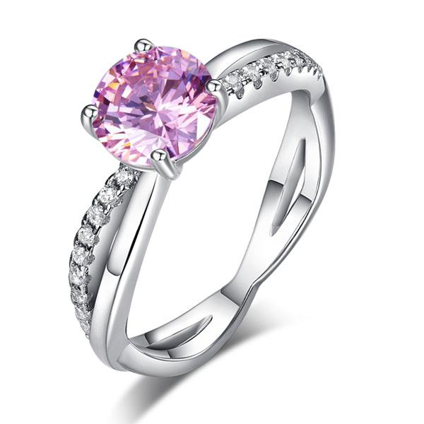 925 Sterling Silver Wedding Promise Anniversary Ring 1.25 Ct Fancy Pink Created Diamond XFR8248 - Silver Rings - KA Designs Online