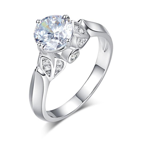 925 Sterling Silver Wedding Promise Anniversary Ring 1.25 Ct Created Diamond Jewelry XFR8259 - Silver Rings - KA Designs Online