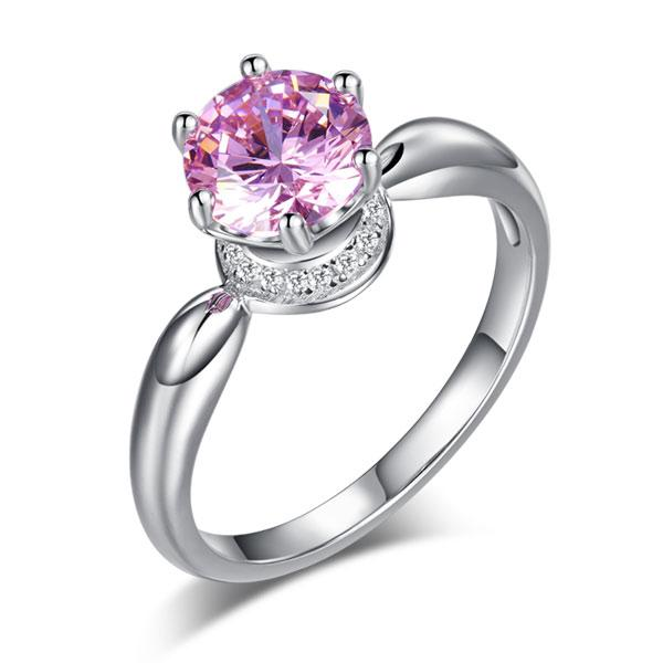 6 Claws Crown 925 Sterling Silver Wedding Promise Anniversary Ring 1.25 Ct Fancy Pink Created Diamond Jewelry XFR8262