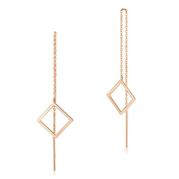 Solid 18K/750 Rose Gold Long Line Square Dangle Earrings - Gold Earrings - KA Designs Online