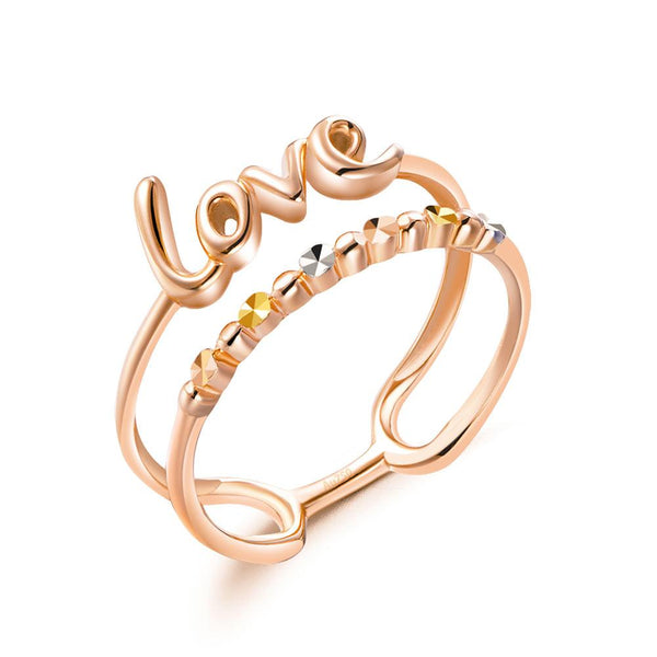 Solid 18K/750 Rose Gold Love Double Band Ring - Gold Rings - KA Designs Online