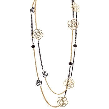 Black and Gold Rose Inspired Necklace - Necklaces - KA Designs Online