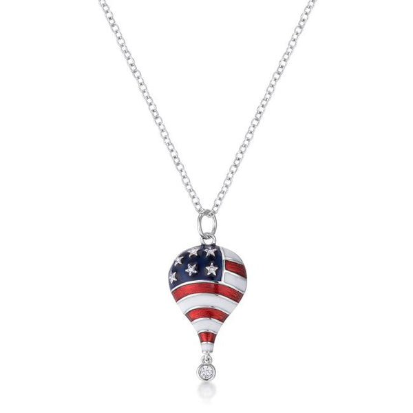 .1 Ct Patriotic Hot Air Balloon Rhodium Necklace with CZ - Necklaces - KA Designs Online