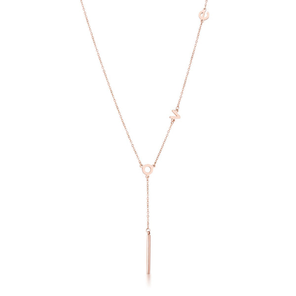 Stainless Steel Rose Goldtone LOVE Necklace
