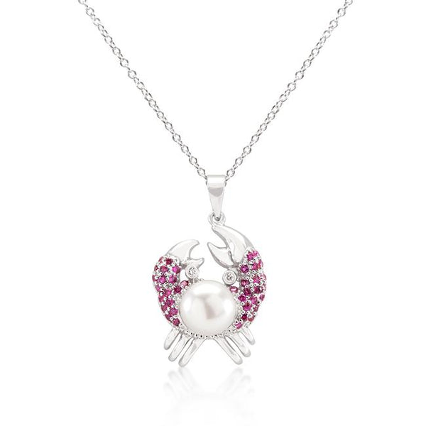 Pearl Crab Pendant Necklace