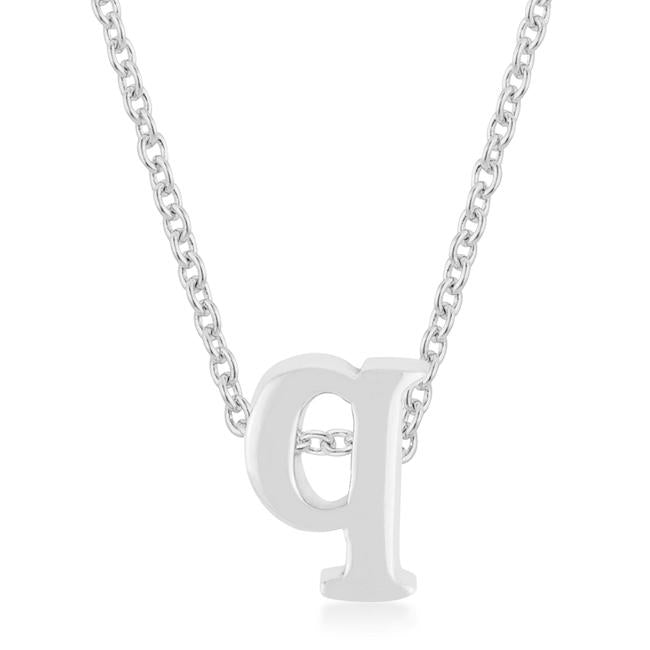 Rhodium Plated Finish Initial Q Pendant