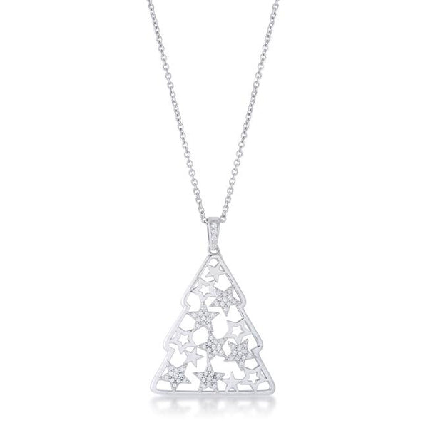 .2 ct CZ Rhodium Christmas Tree With Mixed Stars Pave Holiday Pendant - Pendants - KA Designs Online