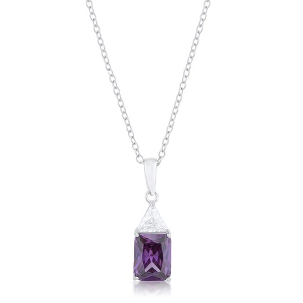 Classic Amethyst Cubic Zirconia Sterling Silver Drop Necklace - Pendants - KA Designs Online