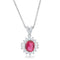 Chrisalee 3.2ct Ruby CZ Rhodium Classic Drop Necklace - Pendants - KA Designs Online