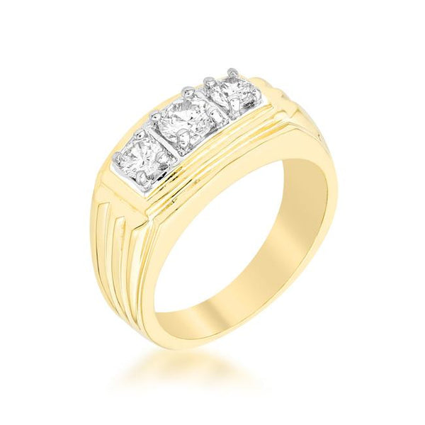 Golden Triplet Cubic Zirconia Ring - Rings - KA Designs Online