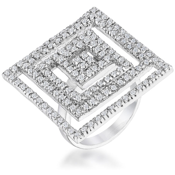Cubic Zirconia Maze Cocktail Ring - Rings - KA Designs Online