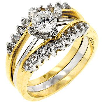 Two Tone Cubic Zirconia Anniversary Ring Set - Rings - KA Designs Online