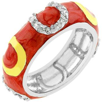 Double Pink Enamel Horseshoe Ring - Rings - KA Designs Online