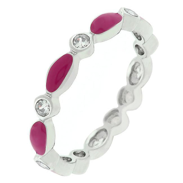 Fuchsia Link Enamel Stacker Ring - Rings - KA Designs Online