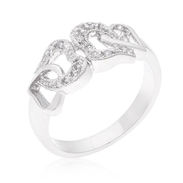 Linked Cubic Zirconia Hearts Ring - Rings - KA Designs Online