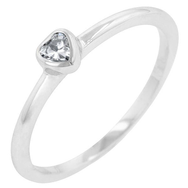 Clear Heart Solitaire Ring - Rings - KA Designs Online