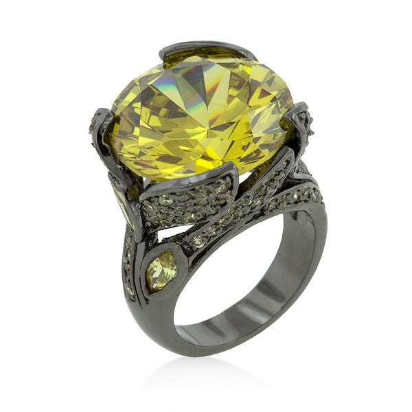 Hematite Yellow Stone Cocktail Ring - Rings - KA Designs Online