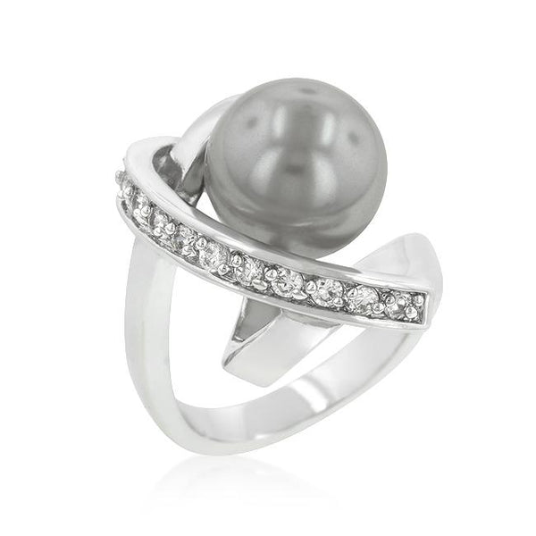 Rhodium Plated Knotted Simulated Pearl Ring - Rings - KA Designs Online