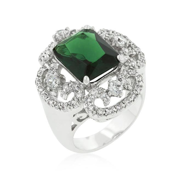 Rhodium Plated Green Cocktail Ring - Rings - KA Designs Online