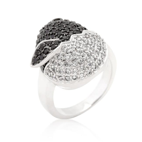 Black and White Cubic Zirconia Baby Chick Ring - Rings - KA Designs Online