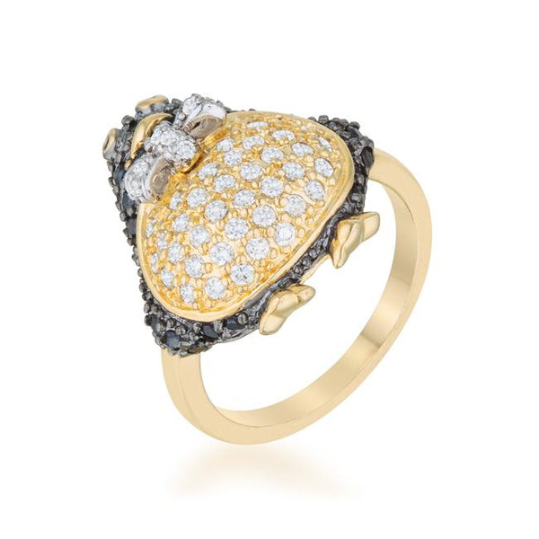 Jet Black Cubic Zirconia Penguin Fashion Ring - Rings - KA Designs Online