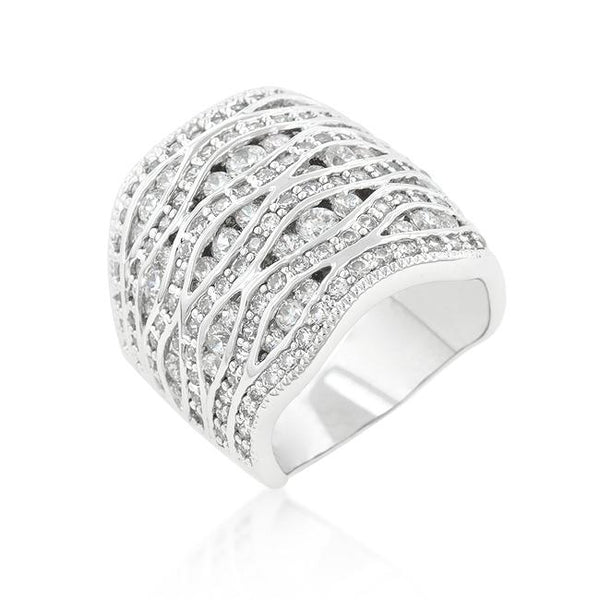 Cubic Zirconia Pave Abstract Ring - Rings - KA Designs Online