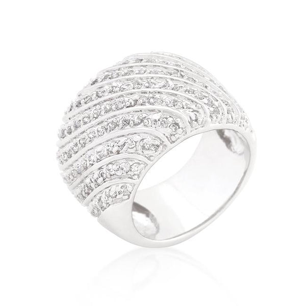 Cubic Zirconia Pave Diagonal Ring - Rings - KA Designs Online