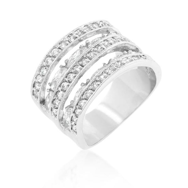 Cubic Zirconia Tiered Ring - Rings - KA Designs Online