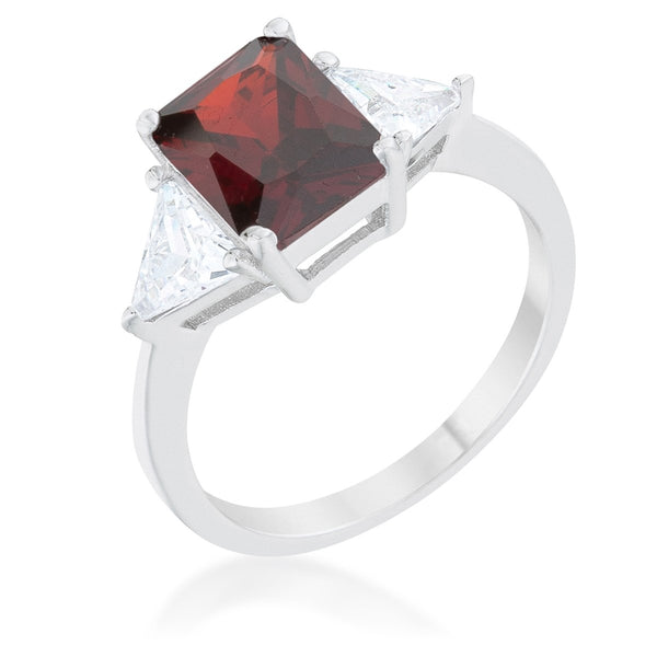 Classic Garnet Rhodium Engagement Ring - Rings - KA Designs Online