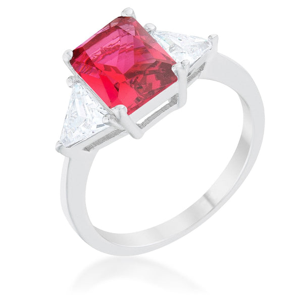 Classic Fuchsia Rhodium Engagement Ring - Rings - KA Designs Online