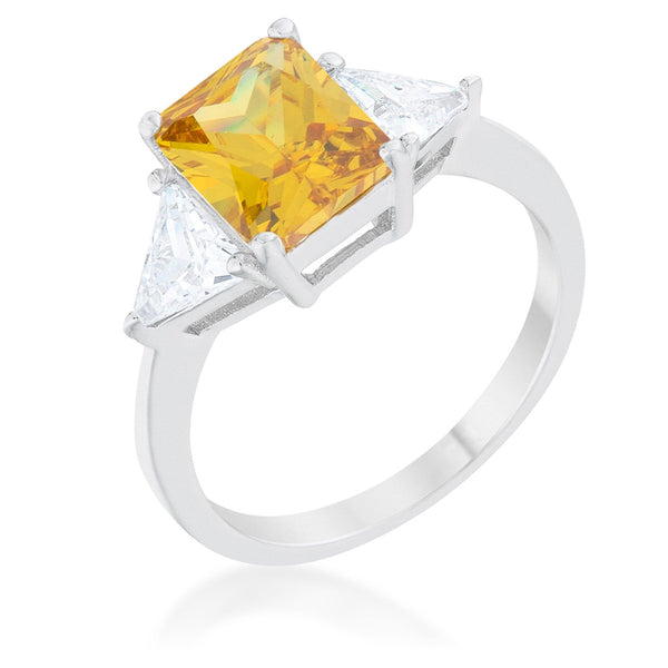 Classic Canary Yellow Rhodium Engagement Ring - Rings - KA Designs Online
