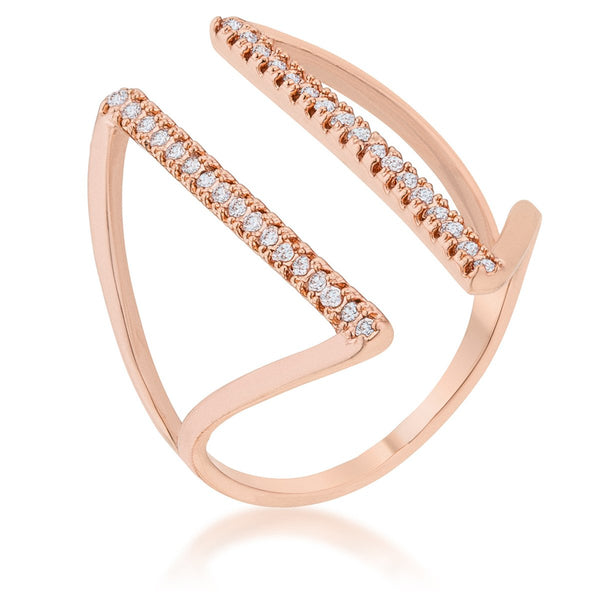 Jena 0.2ct CZ Rose Gold Delicate Parallel Ring - Rings - KA Designs Online