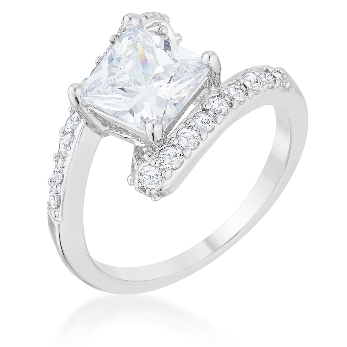 Caroline 2.3ct CZ Rhodium Statement Ring - Rings - KA Designs Online
