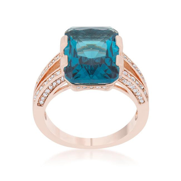 Rema 8.6ct Aqua CZ Rose Gold Emerald Classic Cocktail Ring - Rings - KA Designs Online