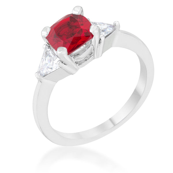 Shonda 1.8ct Garnet CZ Rhodium Cushion Classic Statement Ring - Rings - KA Designs Online