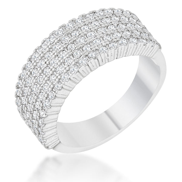 Gwen 1ct CZ Rhodium Wide Ring - Rings - KA Designs Online