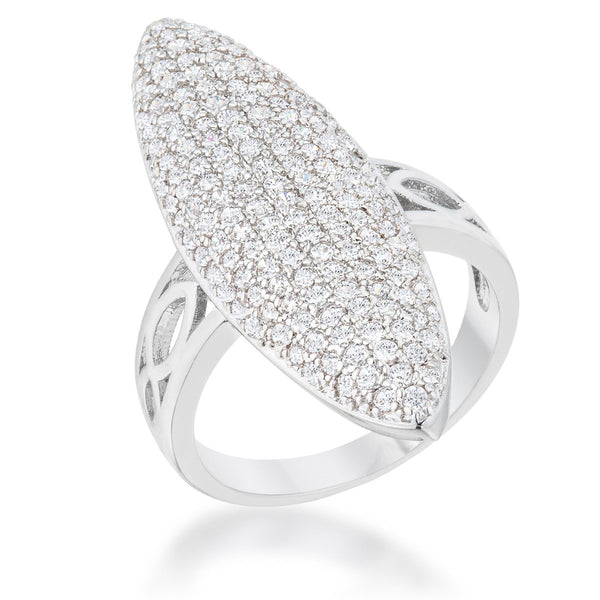 Bella 2.3ct CZ Rhodium Contemporary Cocktail Ring - Rings - KA Designs Online