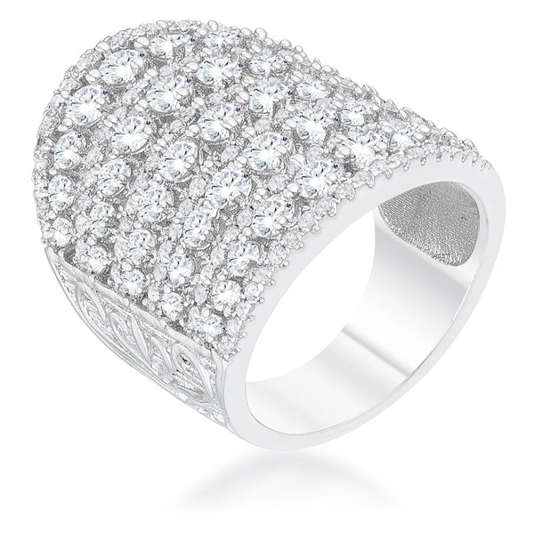Charlyn 2.5ct Rhodium CZ Statement Cocktail Ring - Rings - KA Designs Online