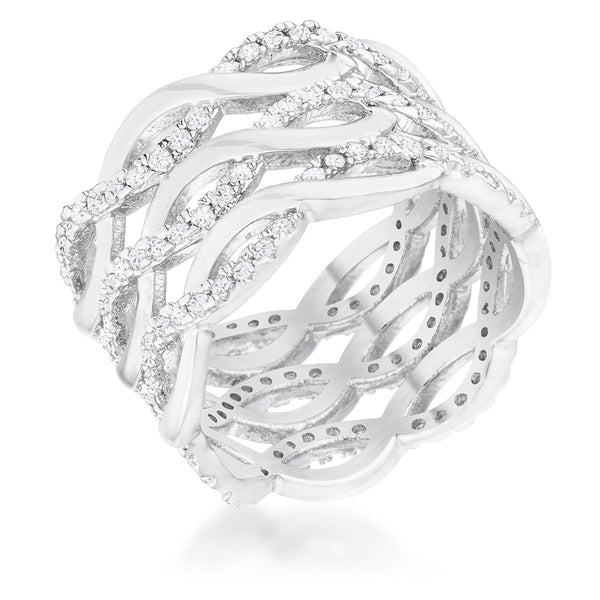 Contemporary 0.88ct CZ Rhodium Twist Wide Cocktail Ring - Rings - KA Designs Online