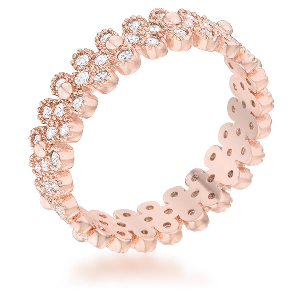 Clara 1ct CZ Rose Gold Textured Bezel Set Eternity Ring - Rings - KA Designs Online