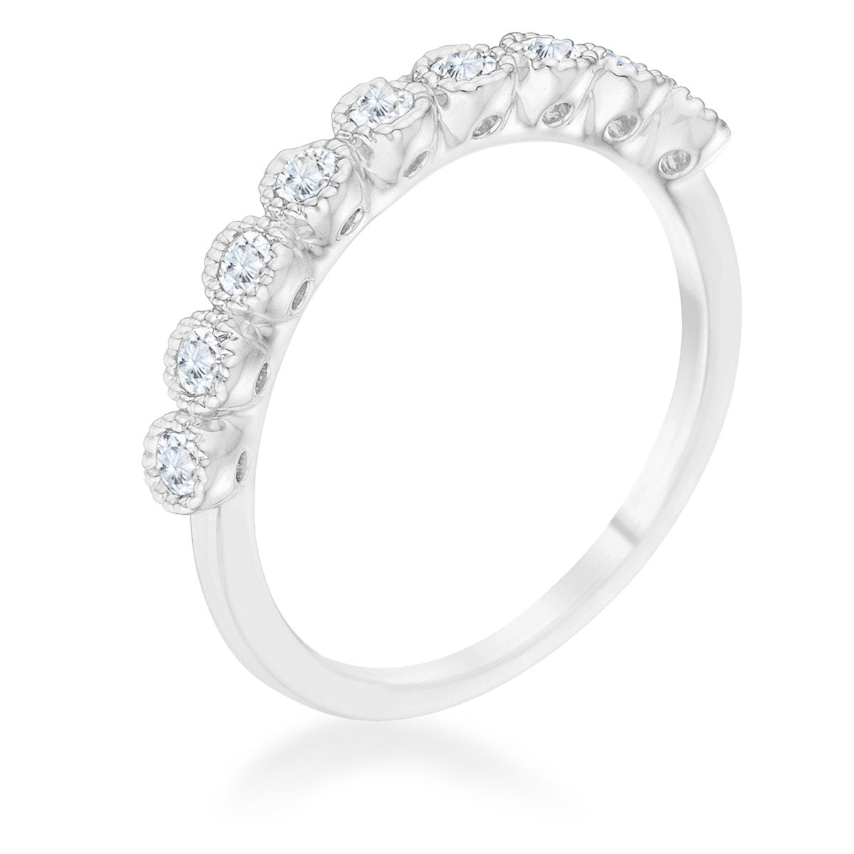 Bea 0.27ct CZ Rhodium Delicate Band - Rings - KA Designs Online