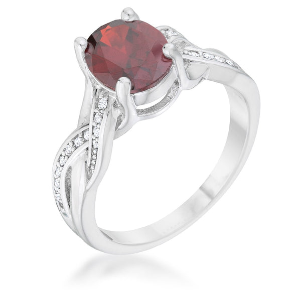 Justine 2ct Garnet CZ Rhodium Classic Oval Ring - Rings - KA Designs Online