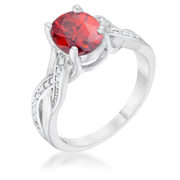Classic 2ct Apple Red CZ Rhodium Plated Oval Ring - Rings - KA Designs Online