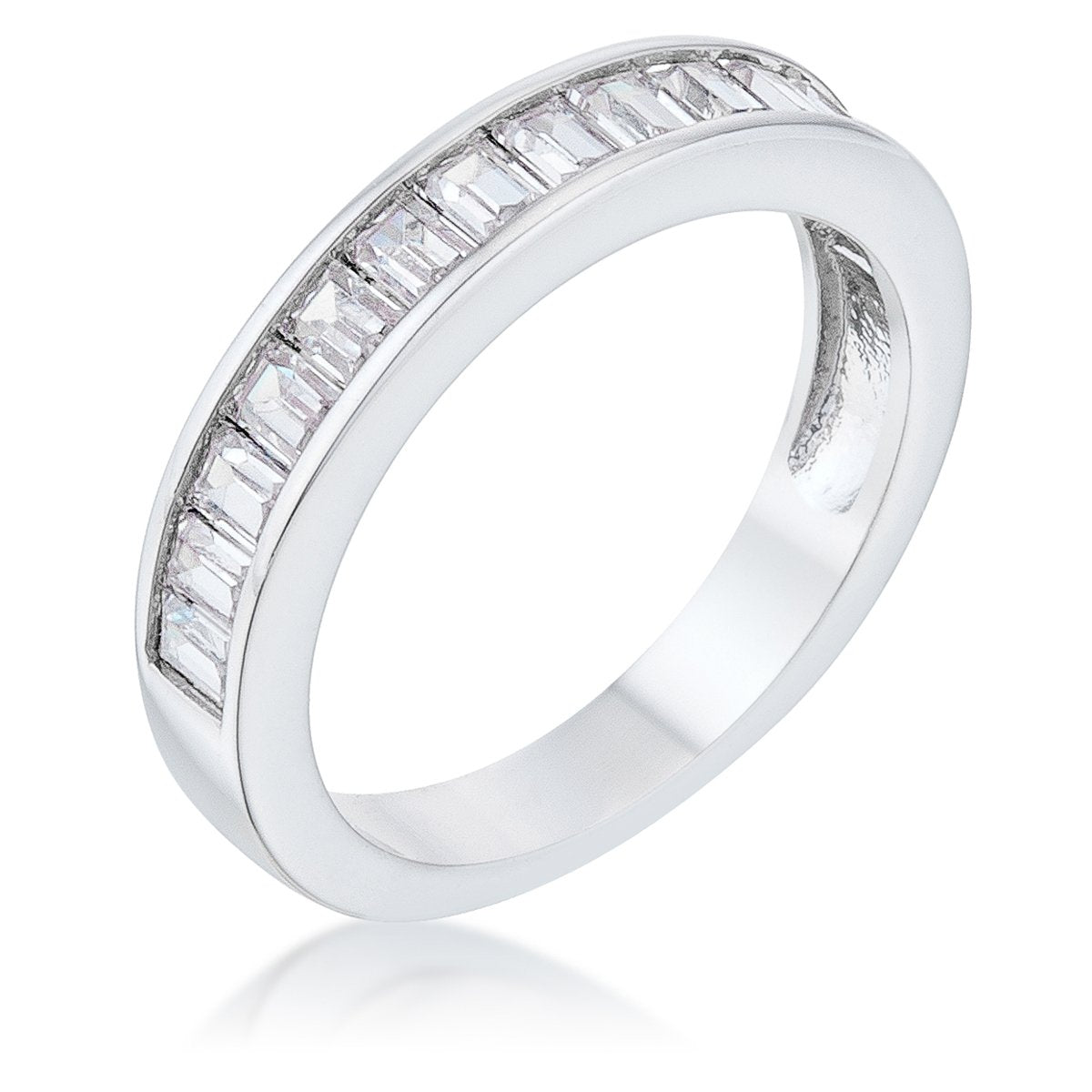 Baguette Cut CZ Rhodium Wedding Band - Rings - KA Designs Online