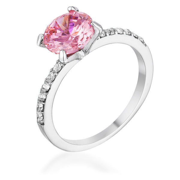Classic 2.3Ct Pink CZ Rhodium Plated Ring - Rings - KA Designs Online
