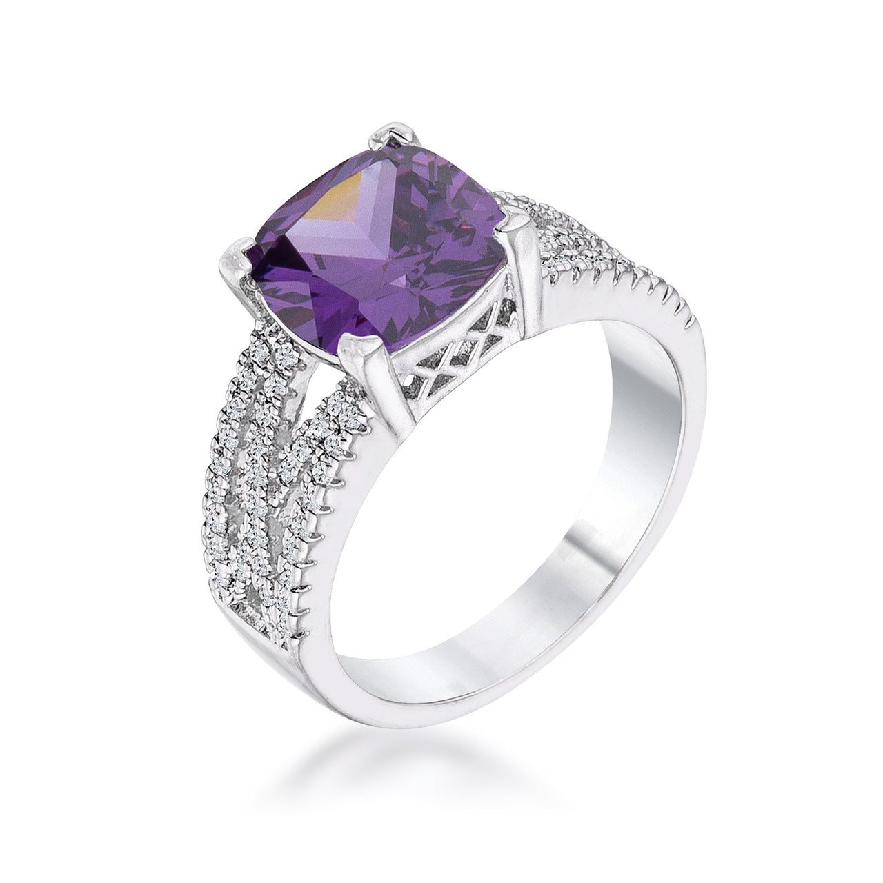 3Ct Elegant Silvertone Criss-Cross Amethyst Purple CZ Engagement Ring - Rings - KA Designs Online