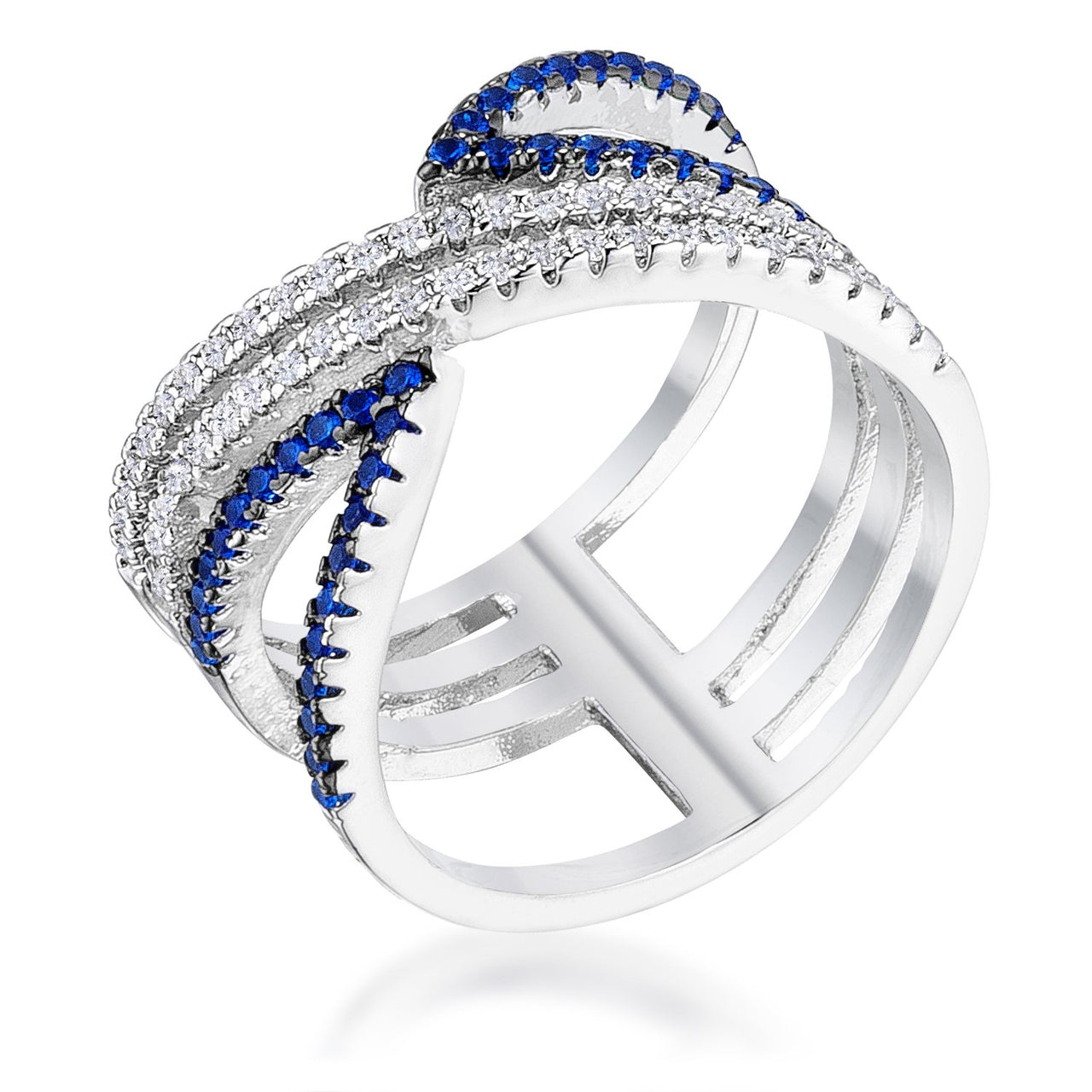 .46Ct Rhodium and Hematite Plated Blue and Clear CZ Micro Pave Crossover - Rings - KA Designs Online